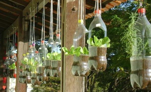 Как украсить сад при помощи пластиковых бутылок